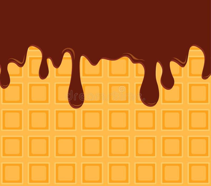 waffel Oblate goss Schokoladensirupnahaufnahme Auch im corel abgehobenen Betrag lizenzfreie abbildung