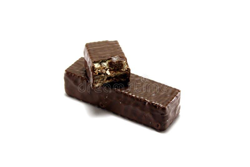 Waffeln in der Schokolade stockfoto