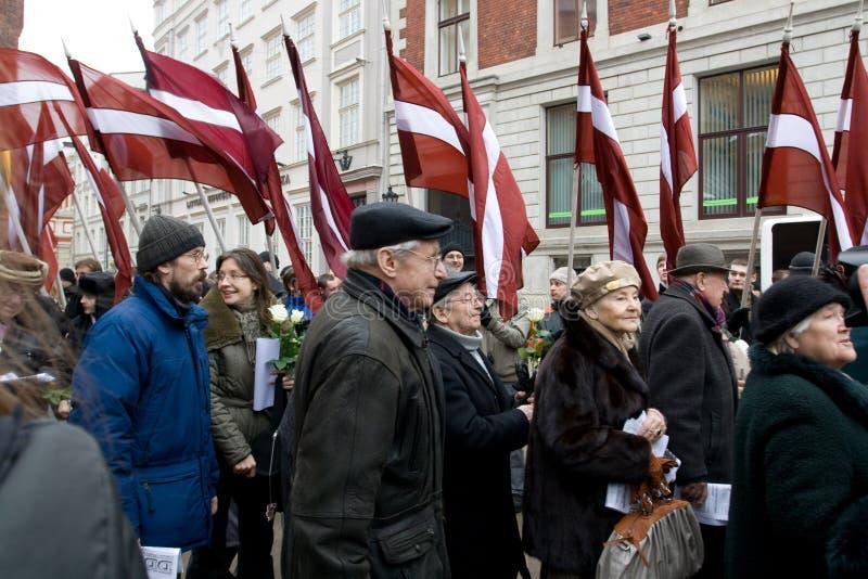waffen den latvian ss-enheten för commemorationen royaltyfria foton