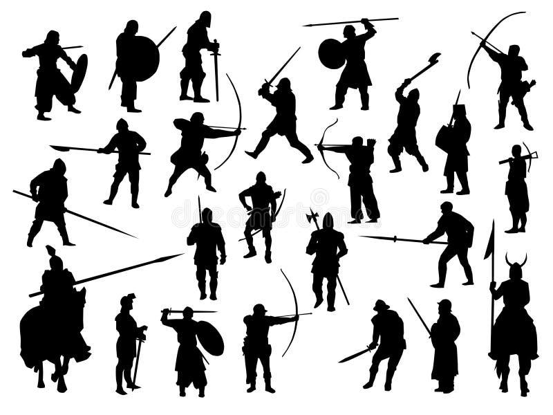 Waffenansammlung, mittelalterliche Krieger lizenzfreie abbildung