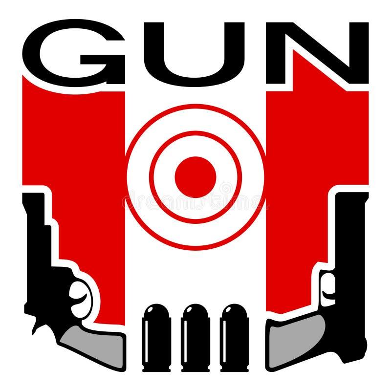 Waffengeschäft- oder Schießstandemblem lizenzfreie abbildung