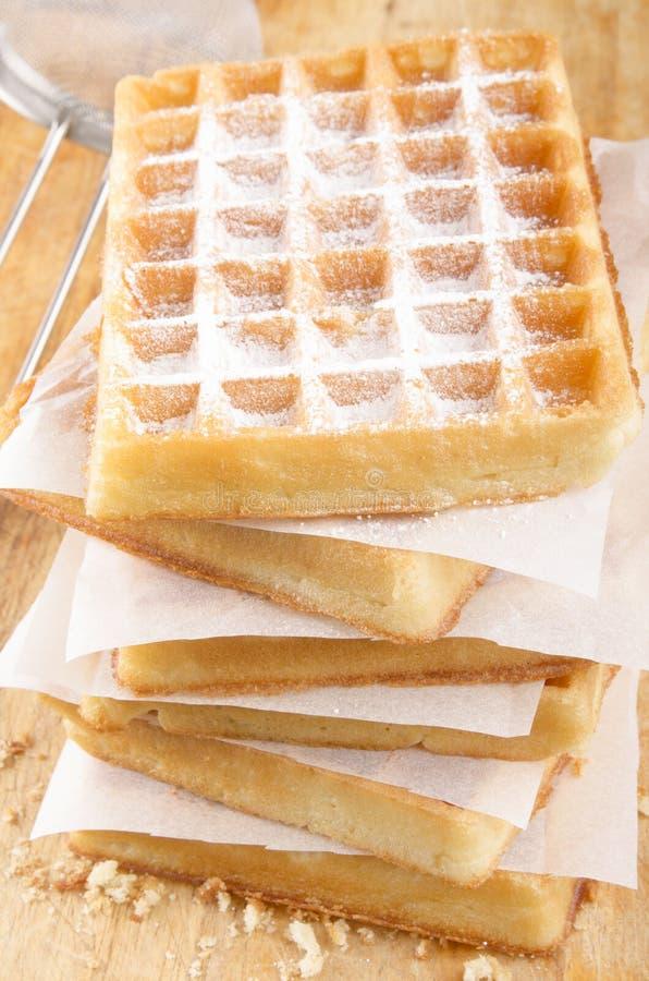 Waffle испеченный домом с напудренным сахаром стоковое фото rf