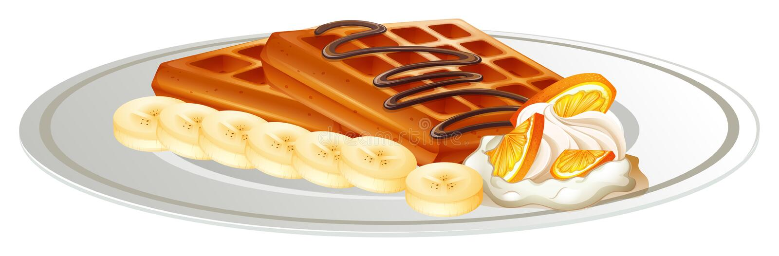 Waffle and banana on the plate. Illustration vector illustration