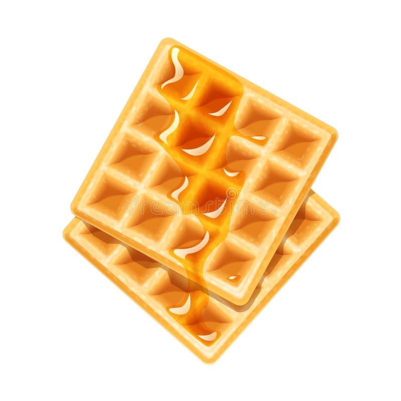Waffle belga com mel Doçura da sobremesa ilustração stock