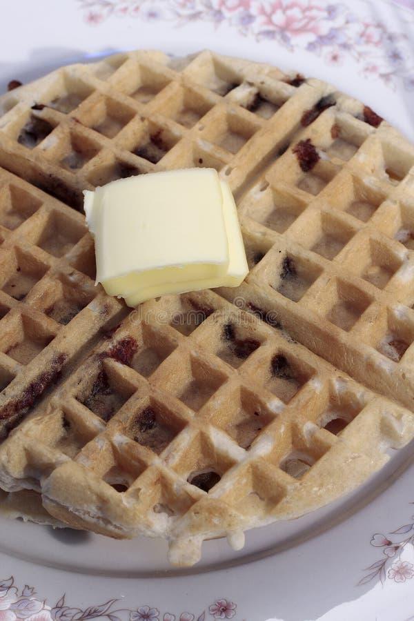 Waffle belga de microplaqueta de chocolate fotos de stock