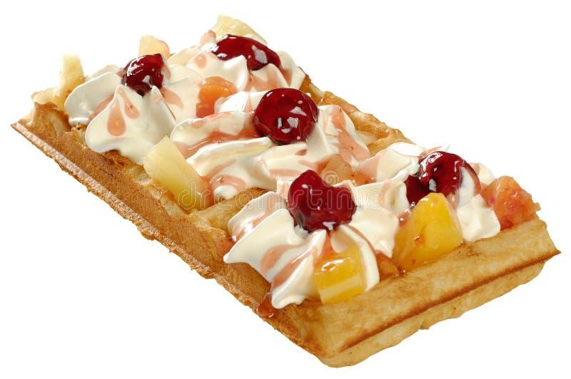 Waffle com creme chicoteado foto de stock royalty free
