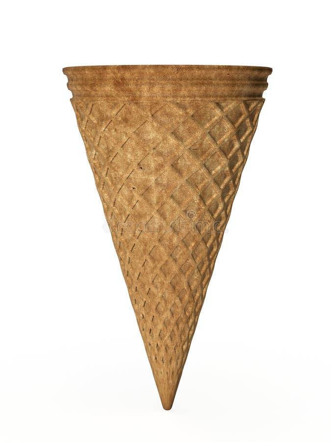 Waffle cone. Empty waffle cone on white stock illustration