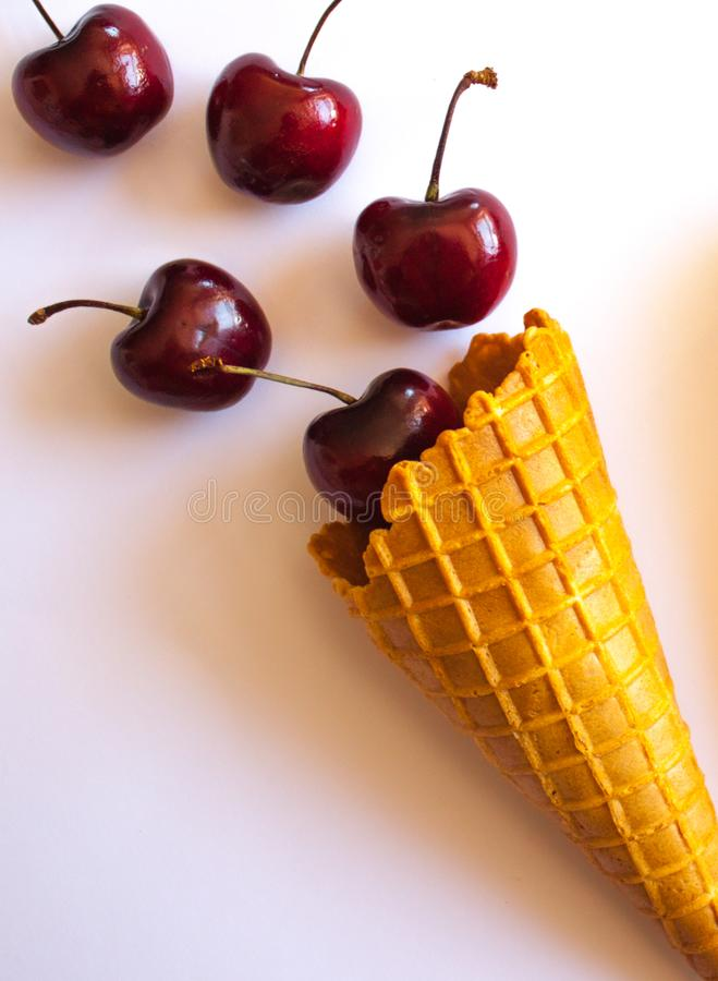 Waffle cones with cherries stock photo
