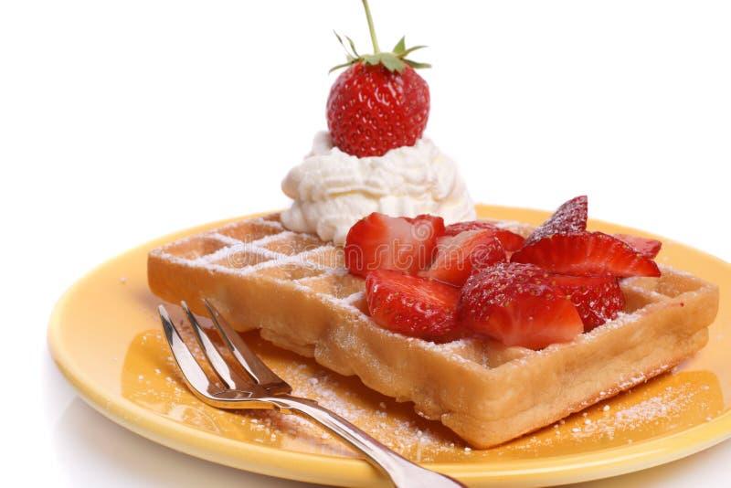 Waffle da morango foto de stock royalty free