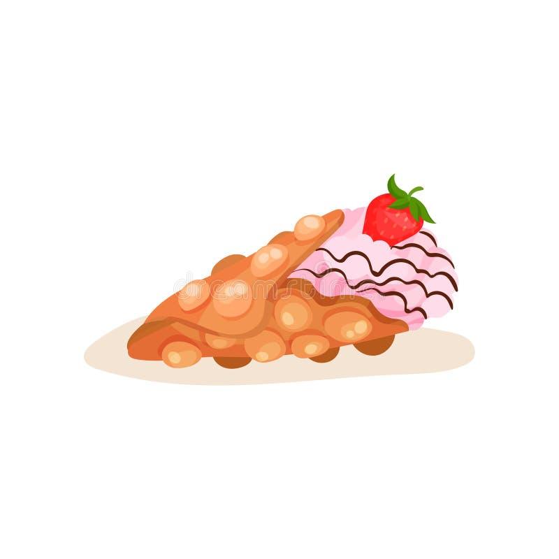 Waffle de Hong Kong com gelado e a morango madura Fast food da rua Elemento liso do vetor para o cartaz ou o menu ilustração do vetor