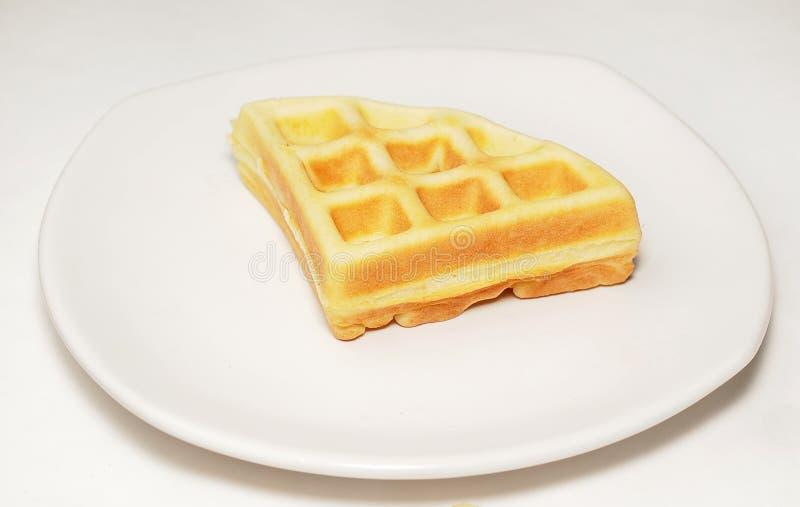 Waffle On Dish Stock Photo