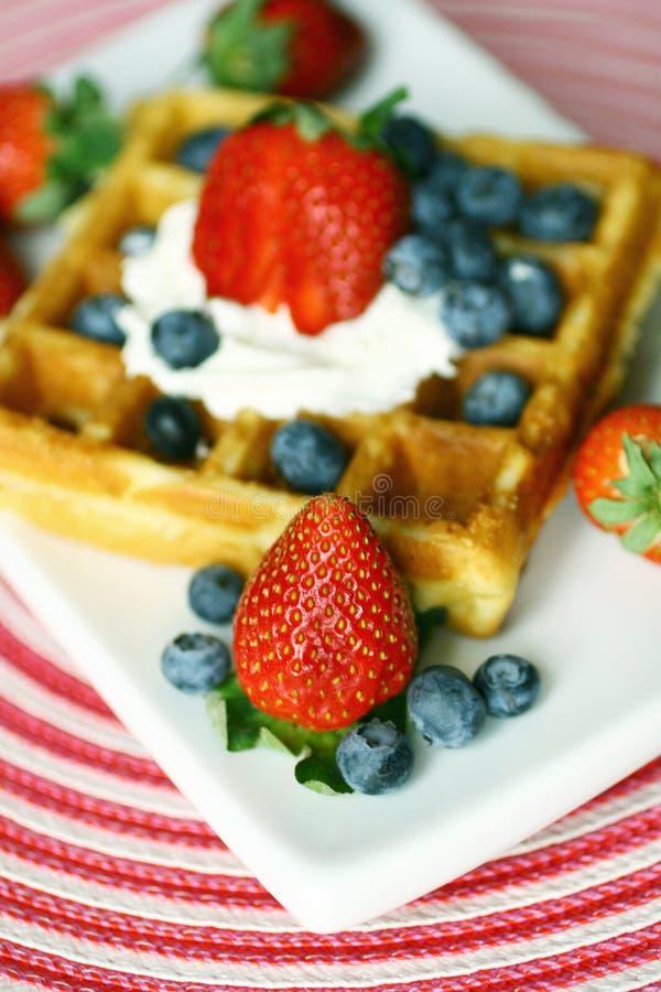 Waffle e bagas imagens de stock royalty free