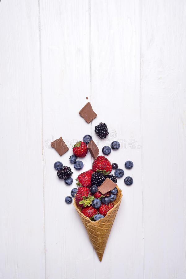 Waffle with fresh berries, homemade ice cream making royalty free stock image
