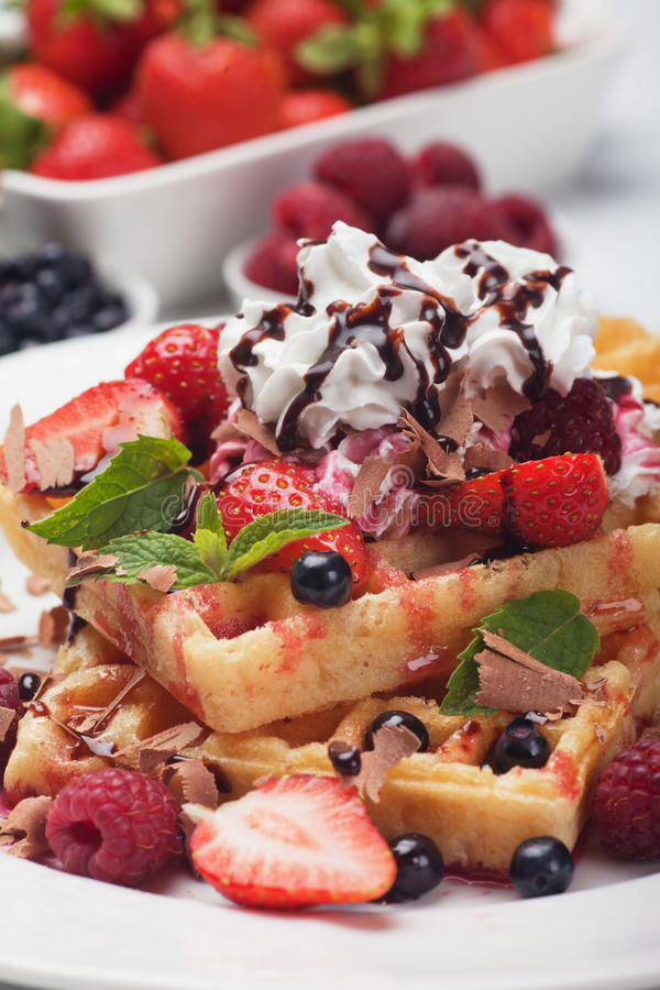Download Waffle With Fresh Fruit And Cream Stock Image - Image of food, raspberry: 32870731