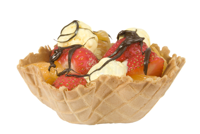 Download Waffle Fruit Basket Drizzled With Chocolate Stock Photo - Image: 4064886