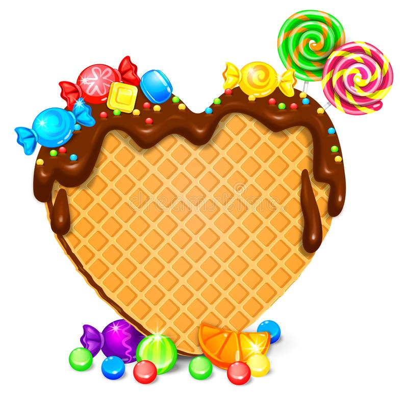 Waffle heart with chocolate and sweets. Blank for your text stock illustration