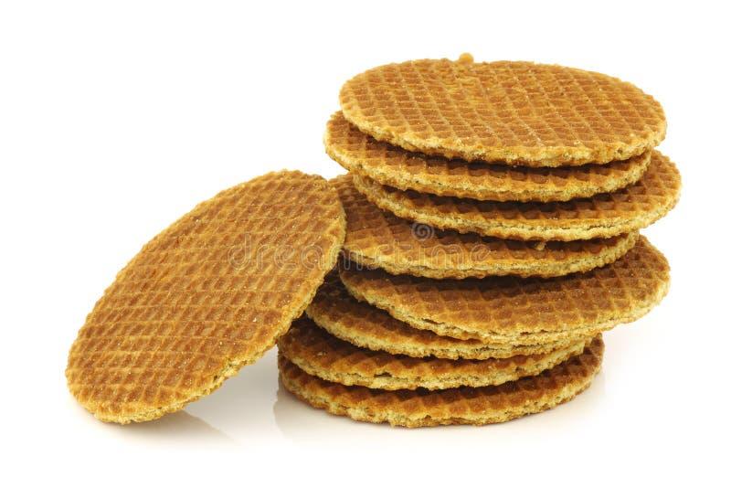 Waffle holandês chamado um stroopwafel imagem de stock