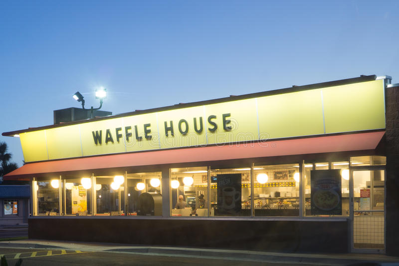 Waffle House Restaurant. JACKSONVILLE, FL-OCTOBER 16, 2016: A Waffle House in Jacksonville. Waffle House Inc. is a restaurant chain with over 1700 locations royalty free stock photo