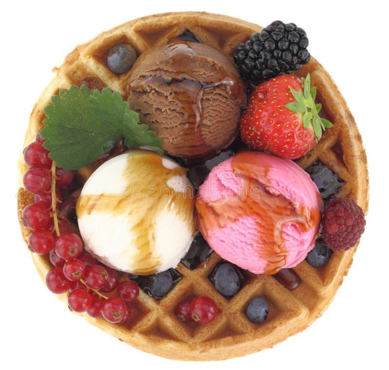 Waffle with ice cream royalty free stock image