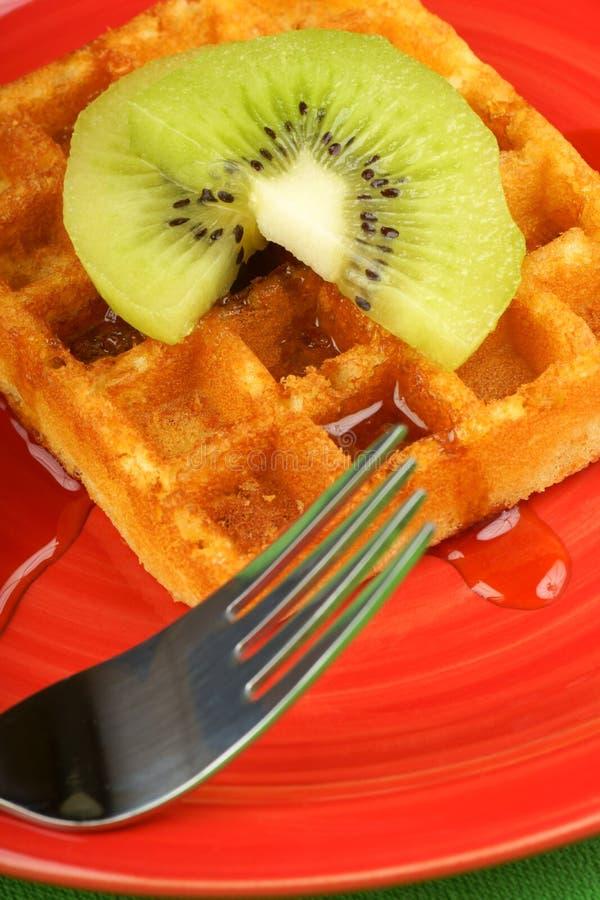 Waffle with kiwi fruit and syrup royalty free stock images