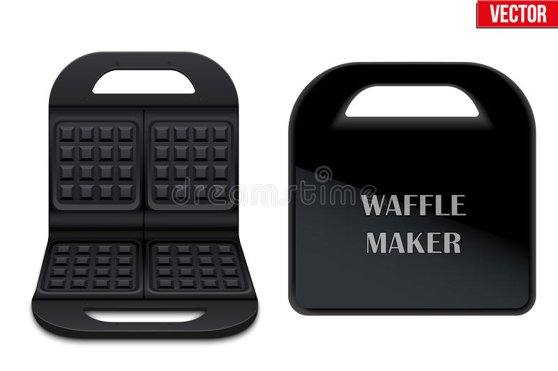 Waffle maker machine. Electronic Waffle maker. Sample model for Kitchen appliance. Opened and closed model. Sweet Tasty dessert and healthy food. Vector royalty free illustration
