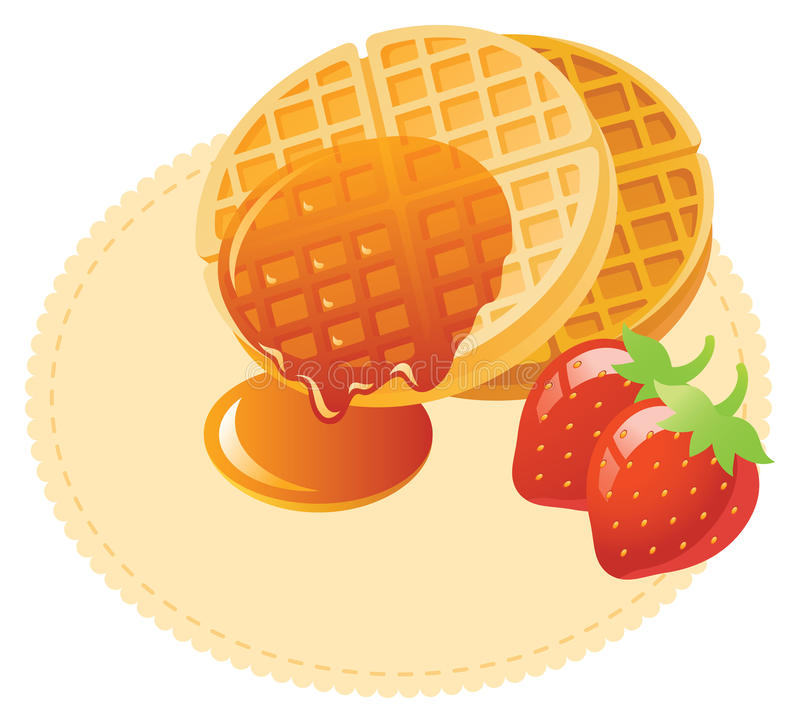 Waffle with maple syrup. And strawberry vector illustration