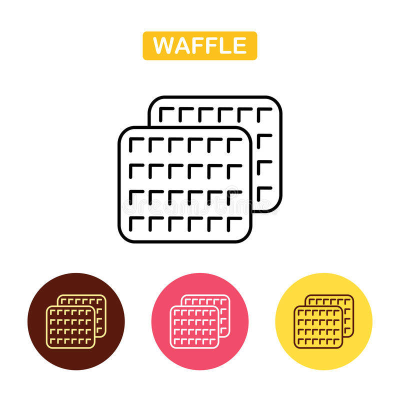 Waffle Outlined Food Icon. Biscuit simbol. Bakery products image. Outline vector Logo illustration. Trendy vector Illustration isolated for graphic and web vector illustration