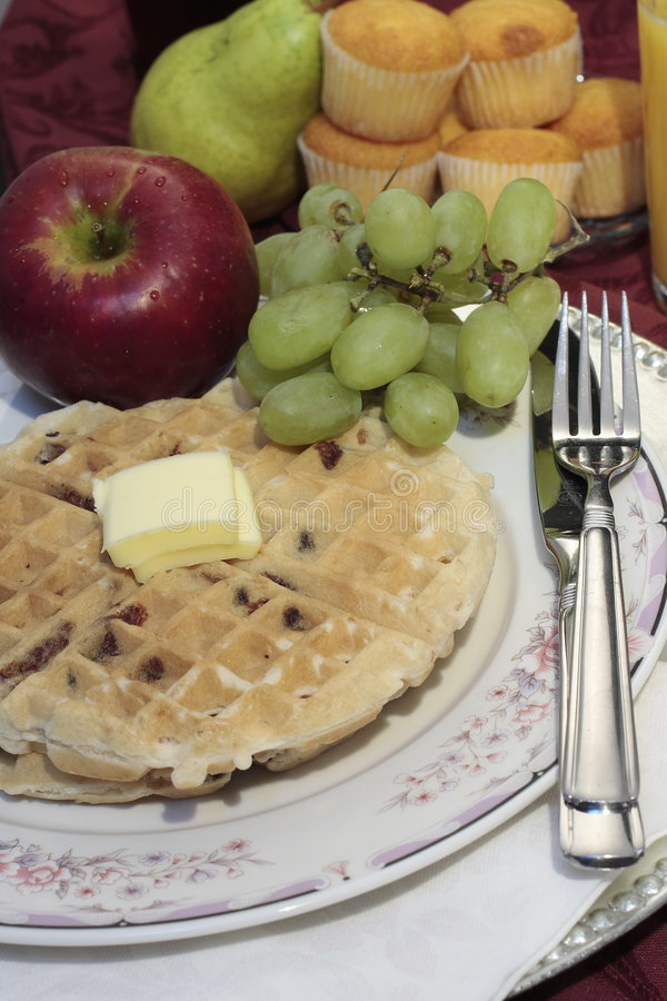 Download Waffle plate fresh fruit stock image. Image of butter - 3668137