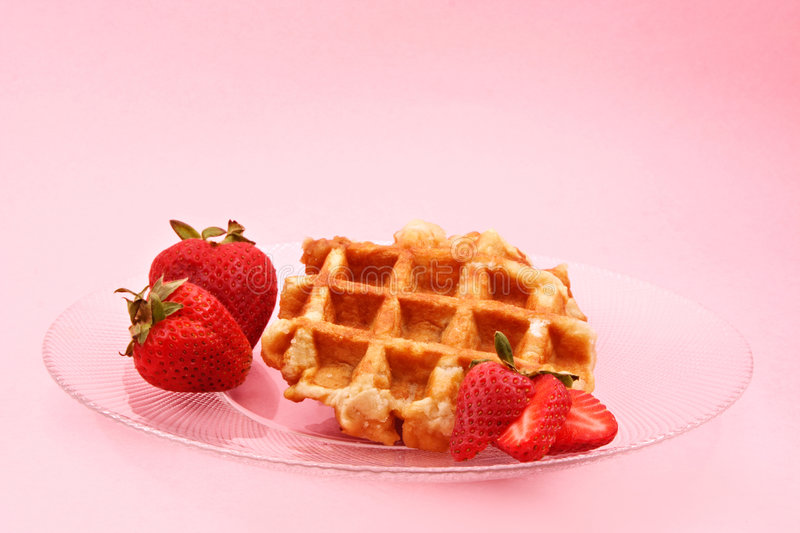 Waffle And Strawberries Royalty Free Stock Photography