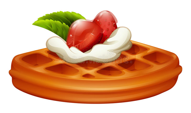 Waffle with strawberry and cream. Illustration vector illustration