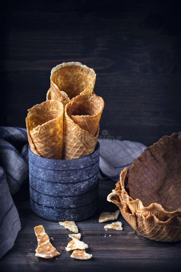 Waffle sweet cones for ice cream stock photos