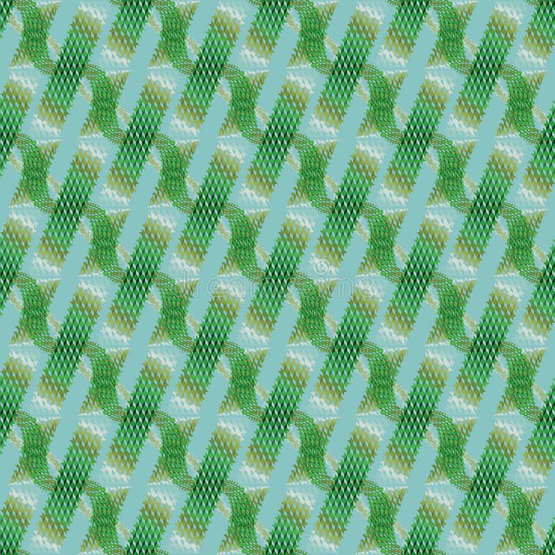 Waffle-weave pattern with wavy lines green brown khaki white aquamarine diagonally. Abstract geometric seamless modern background, dimensional waffle-weave royalty free illustration