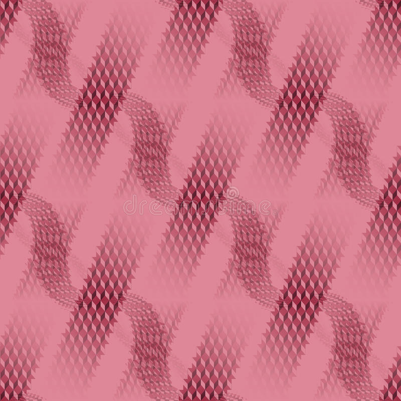 Waffle-weave and stripes pattern pink red diagonally. Abstract geometric seamless modern background, dimensional waffle-weave pattern. Regular stripes and wavy royalty free illustration