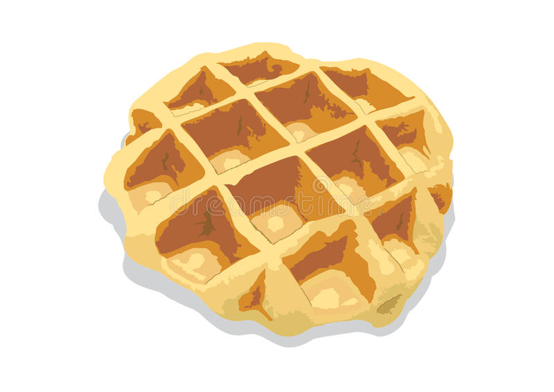 Waffle. A waffle what can found in ordinary shop. Piain waffle is now popular to serve with decoration topping in coffee shop stock illustration