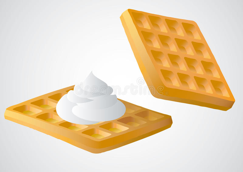 Waffle. With and without whipped cream royalty free illustration