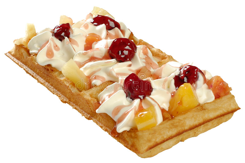 Waffle with whipped cream. And cherry royalty free stock photo