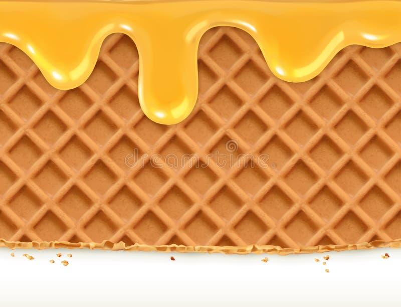 Waffles и мед бесплатная иллюстрация