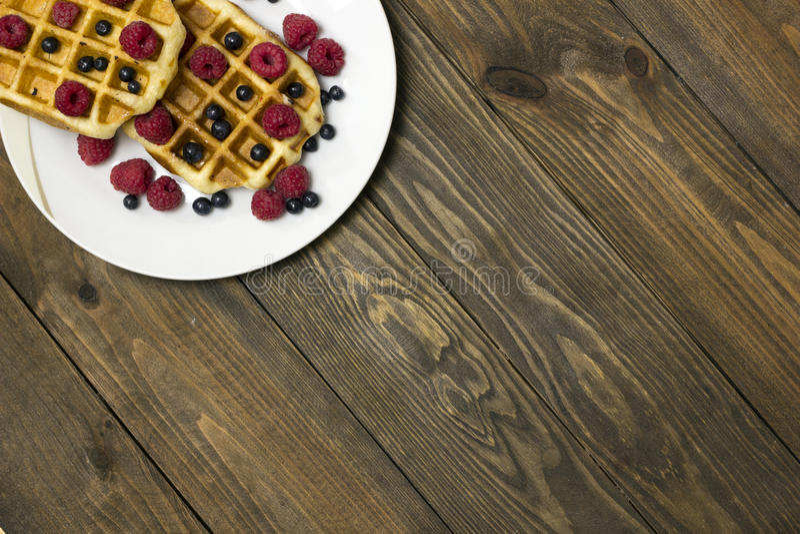 2 waffles на белой плите стоковые изображения rf