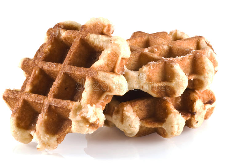 Waffles. Three waffles isolated on a white background stock images