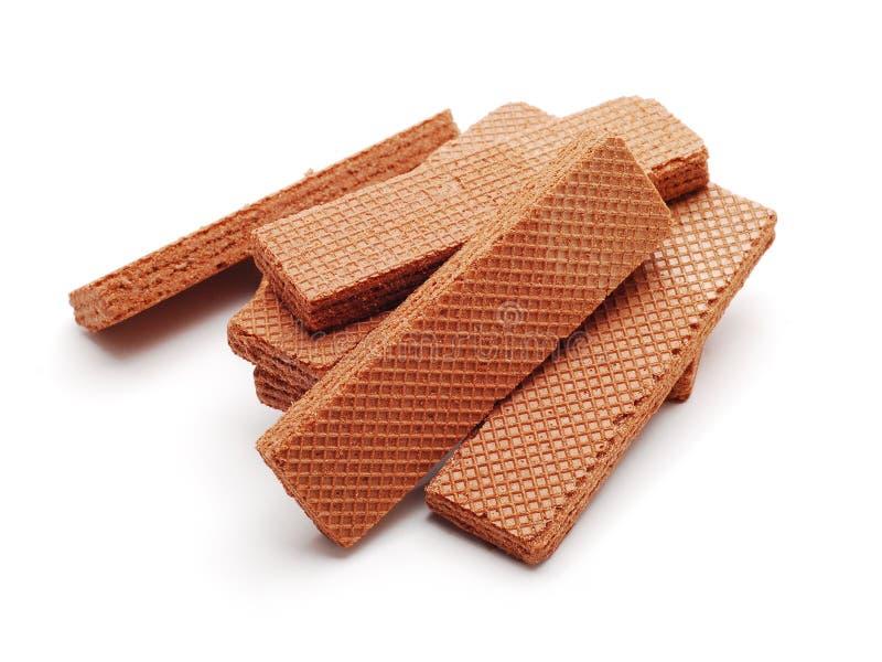 Waffles. Chocolate waffles isolated on white royalty free stock image
