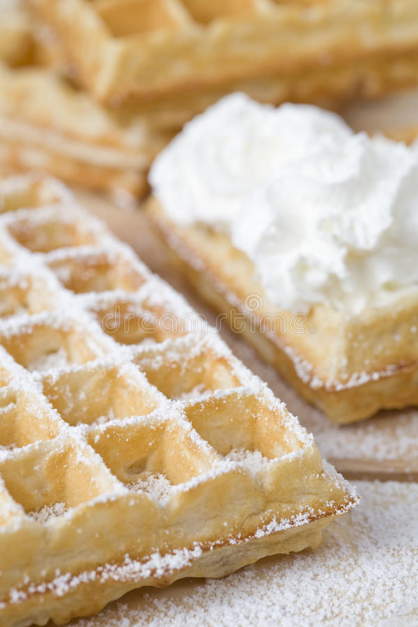 Waffles. Fresh waffles with whipped cream stock photos