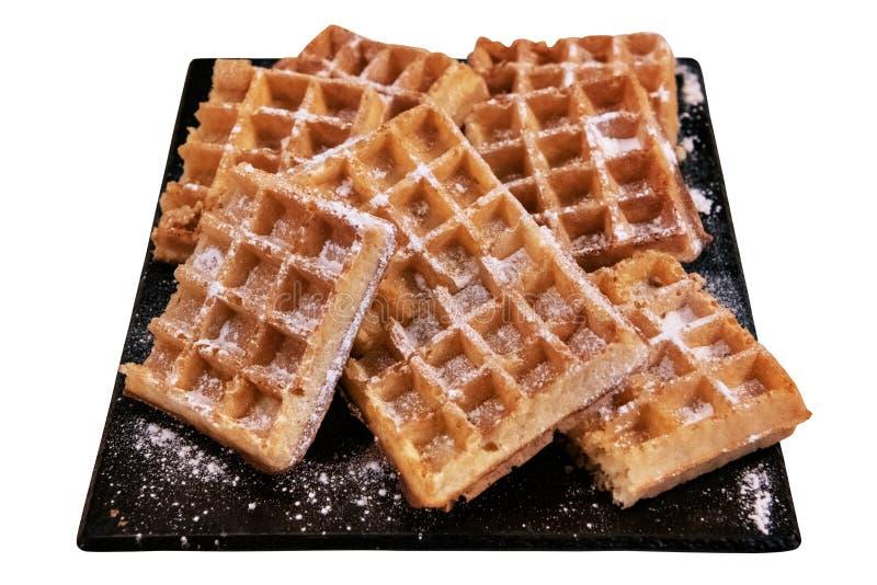 Waffles belgas com açúcar de crosta de gelo fotografia de stock royalty free
