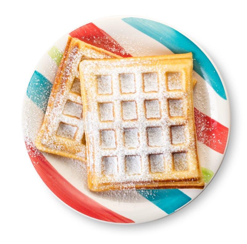 Waffles belgas com açúcar pulverizado imagens de stock