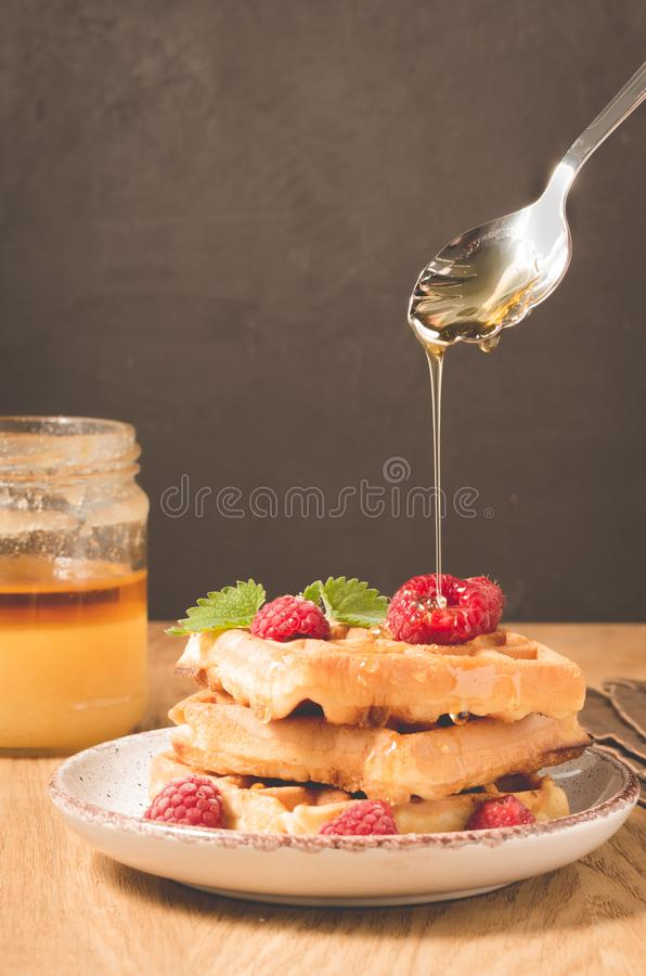 Waffles with berries in plate poured by honey from a spoon/Homemade waffles with berries in plate poured by honey from a spoon on. A old dark background royalty free stock photos