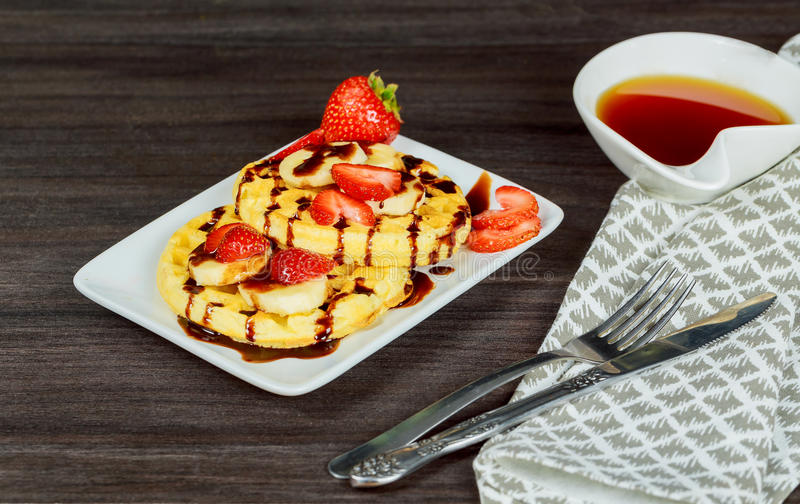waffles with berry fruit stock images