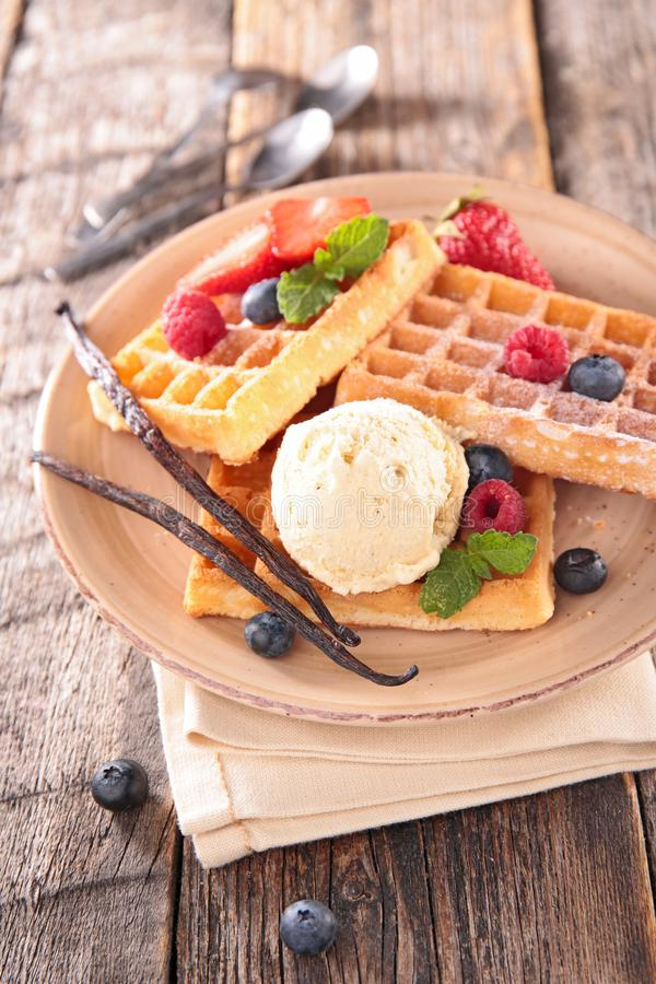 Waffles with berry fruit. And ice cream stock images