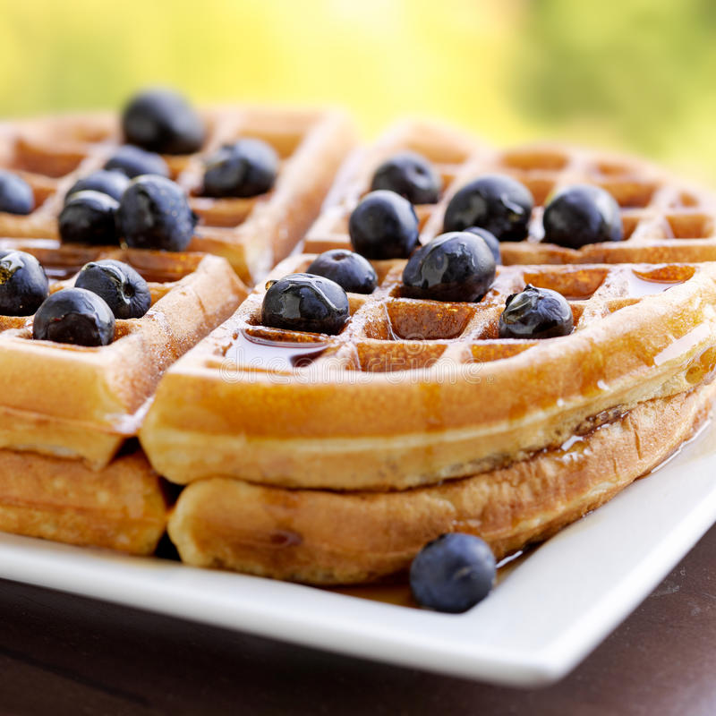 Waffles with blueberries. Closeup photo of waffles with blueberries. Selective focus on middle of waffle royalty free stock images