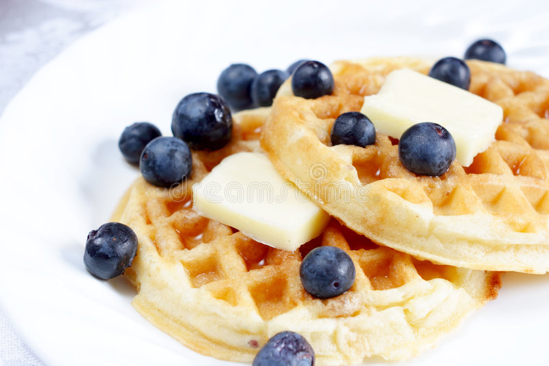 Waffles with Blueberries royalty free stock photos
