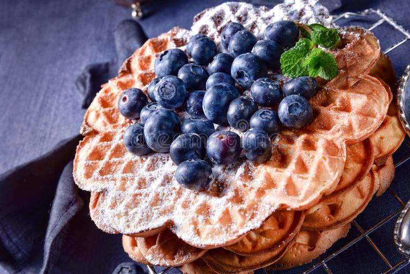 Waffles with blueberries stock photos
