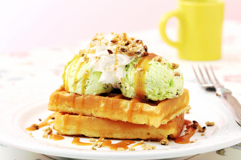 Waffles. Breakfast with waffles and icecream royalty free stock photography